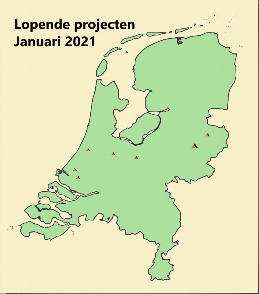 Kaart van Bouwbedrijf Averesch' lopende projecten in januari 2021